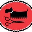 Stock Vector: Sign with grooming dog and scissors