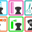 Pet care icons — Stock Vector