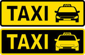 Black and yellow taxi sign — Stock Vector
