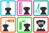 Sällskapsdjur bekymmer ikoner — Stockvektor