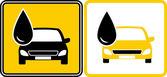 Firmar con gota de aceite combustible y auto — Vector de stock