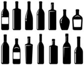 Set of glossy wine bottles — Stock Vector