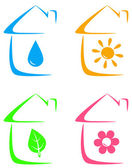 Icons of eco house, heating and water supply — Stock Vector