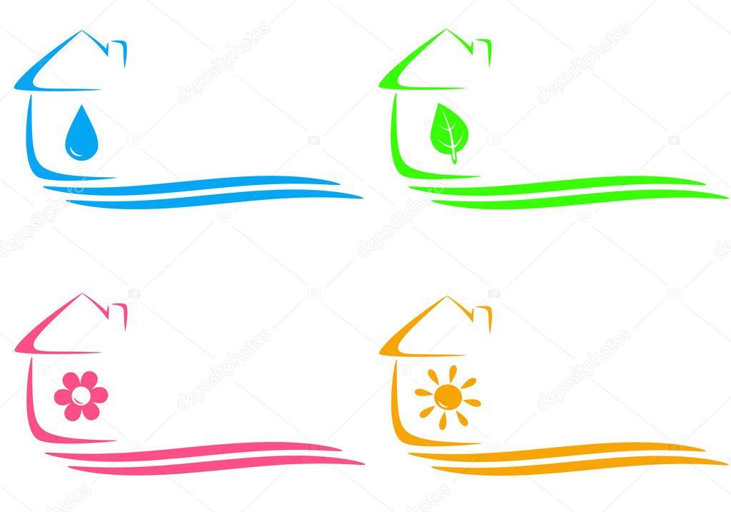 Ic nes de la maison cologique chauffage et goutte d 39 eau et place pour l - Chauffage ecologique maison ...