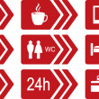 Set of red road icons with arrow — Stock Vector