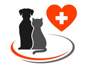 Veterinary icon with heart — Stock Vector