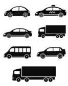 Black isolated cars set — Stock Vector