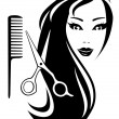 Girl with black long hair and scissors and comb — Векторная иллюстрация