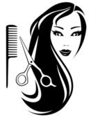 Girl with black long hair and scissors and comb — Stock Vector