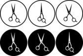 Zestaw profesjonalnych nożyczek w okrągłe ramki — Wektor stockowy