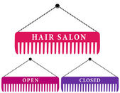 Hair salon sign with comb — Stock Vector