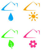 Colorful icons under house roof — Stock Vector