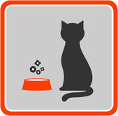 Cat and feed icon — Stock Vector
