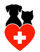Veterinary sign with dog and cat — Stock Vector