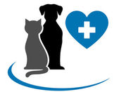 Veterinarian icon with blue heart, pets and cross — Stock Vector