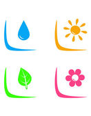 Set of landscaping signs with water drop, flower, sun and leaf — Stock Vector