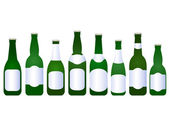 Set of beer bottles with blank label — Stock Vector