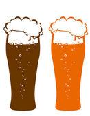 Dark and light beer glasses — Stock Vector