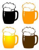 Set of beer mugs — Stock Vector
