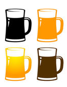 Set of colorful beer mugs — Stock Vector