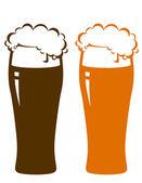 Beer glasses with foam — Stock Vector