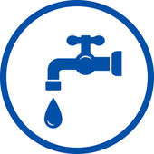 Blue icon with faucet and drop — Vector de stock