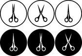 Set of scissors in round frame — Stock Vector
