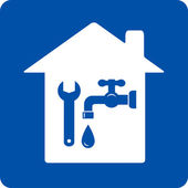 Blue plumbing symbol with house — Stock Vector