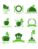 Set of vegetarian food icons — Stock Vector
