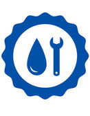 Symbol of plumbing with water drop — Vettoriale Stock