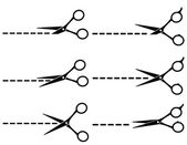 Black scissors with cut lines — Stock Vector