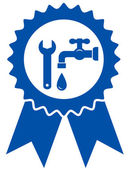 Round icon with plumbing wrench — Stockvektor