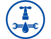 Round icon of plumbing service — Vecteur