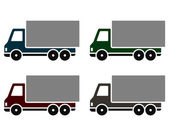 Colorful delivery trucks — Stock Vector