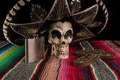 Day of The Dead Skull, Sombrero, Cross, & Tequila Flask — Stock Photo