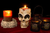 Day of The Dead Skull & Candles — Stock Photo