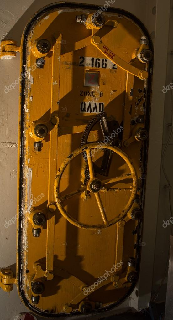 Naval hatch door aboard the USS Iowa  Stock Photo #13684029
