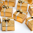 Small Gold Christmas Presents — Stock Photo