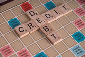 Credit Debit Scrabble Concept — Stock Photo