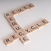 Reduce, Reuse Recycle Scrablle Concept — Stock Photo