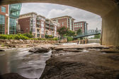 HDR Falls Park on The Reedy River — Stock Photo