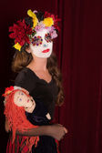 Day of The Dead Child with Doll — Stock Photo