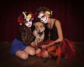 Day of The Dead Girls with Dog — Stock Photo