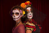 Day of The Dead Mother and Daughter — Stock Photo