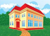 Casa con techo rojo — Vector de stock