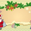 Christmas illustration with little elf and Santa Claus. — Stockvektor