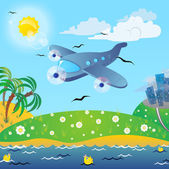 The traveling on the airplane. — Stock Vector