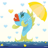 Cartoon fish with umbrella — Stockvector