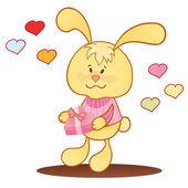 Cute bunny with hearts. — Stock Vector