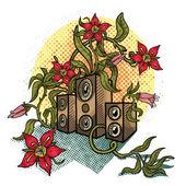 Blumen und musik lautsprecher. — Stockvektor
